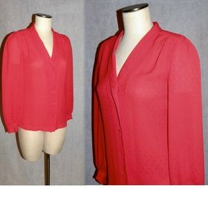 VTG 70s Semi Sheer TRUE RED Crepe Poly Blouse XS